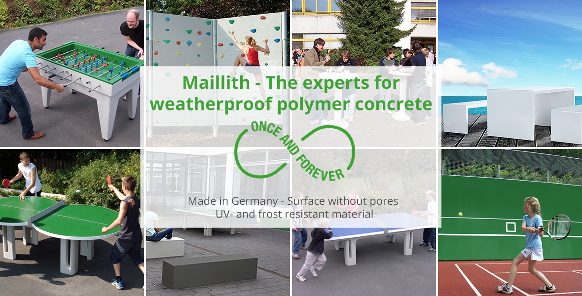 Maillith outdoor sports equipment made of polymer concrete