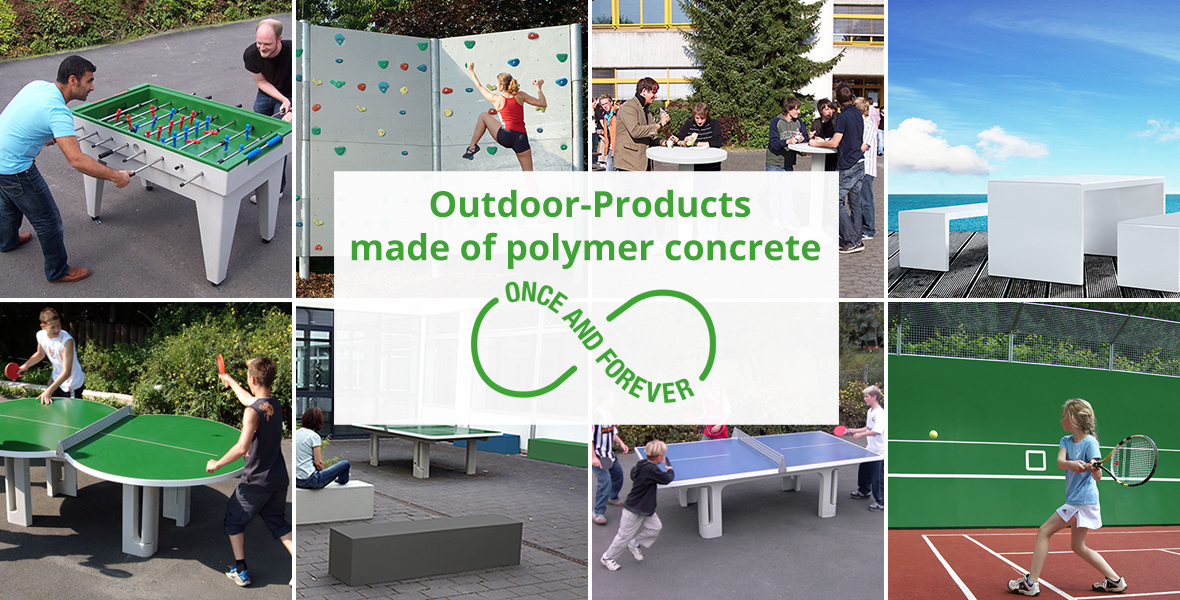 outdoor products made of polymer concrete